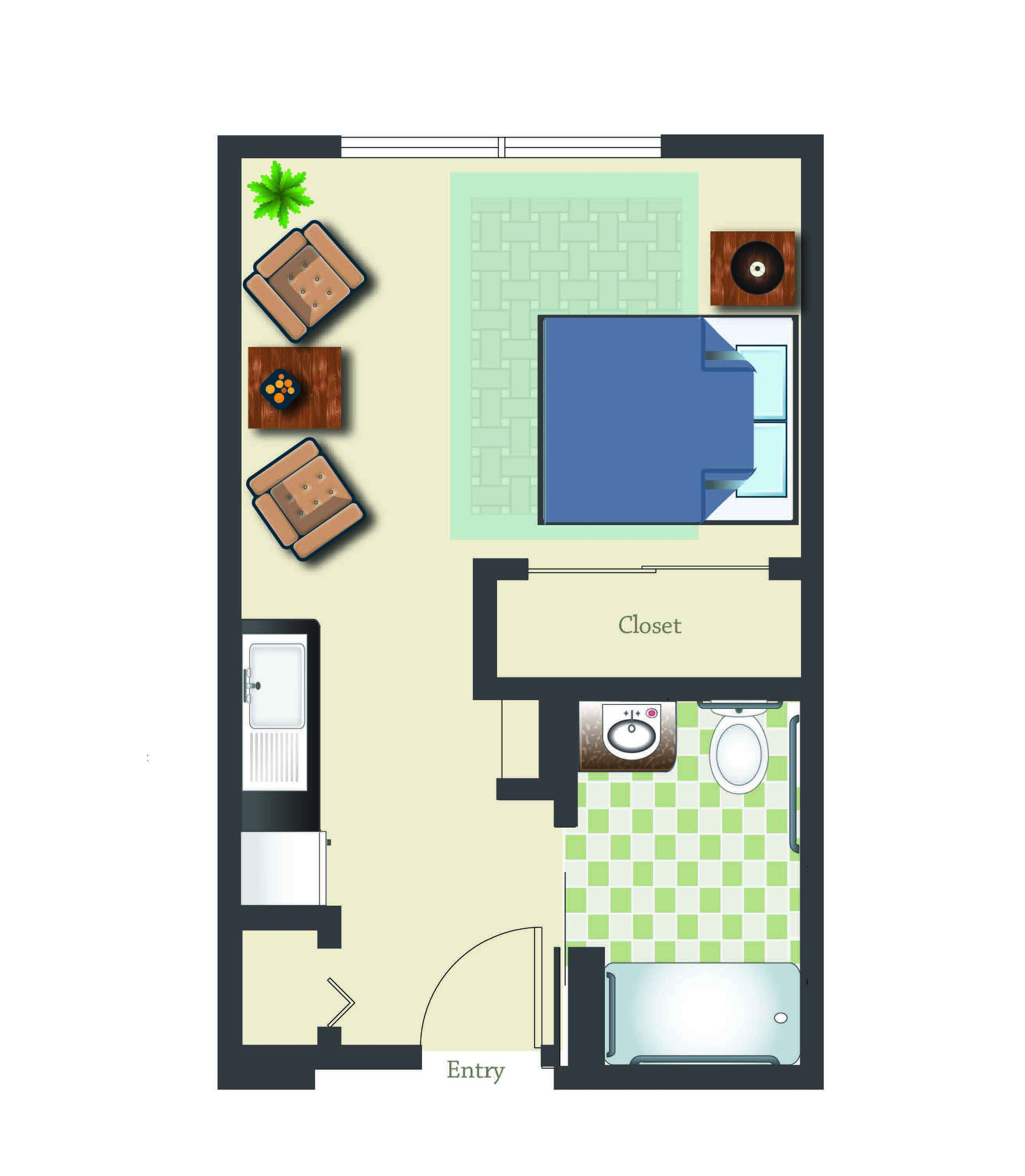 retirement community assisted living in sandy oregon studio 365 sq ft assisted suite
