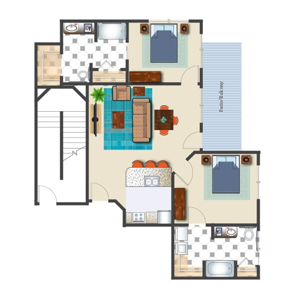1069 square feet - 2 bed 2 bath - Retirement Suite