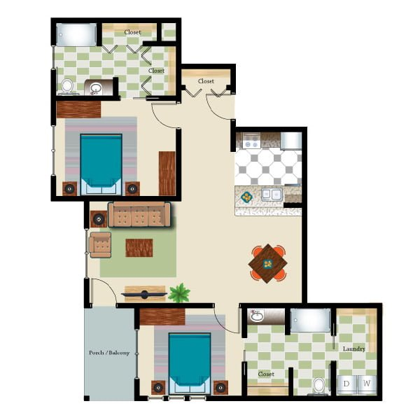 1169 square feet - 2 bed 2 bath - Retirement Suite