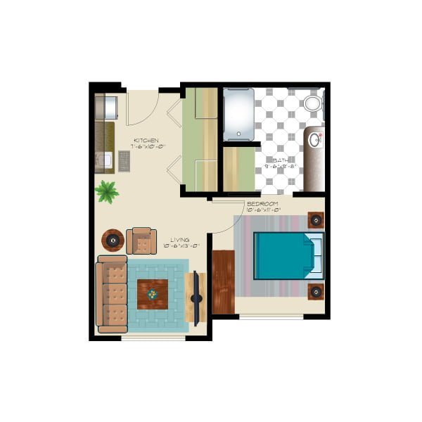 506 square feet - 1 bed1 bath - Assisted Suite