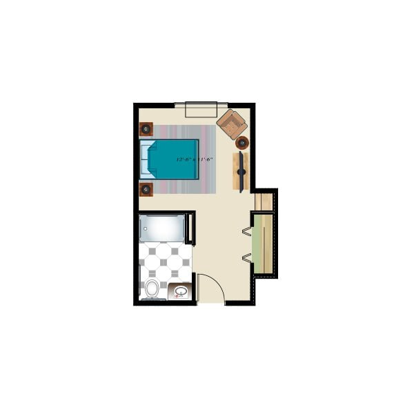 323 square feet - Memory Care Private Suite