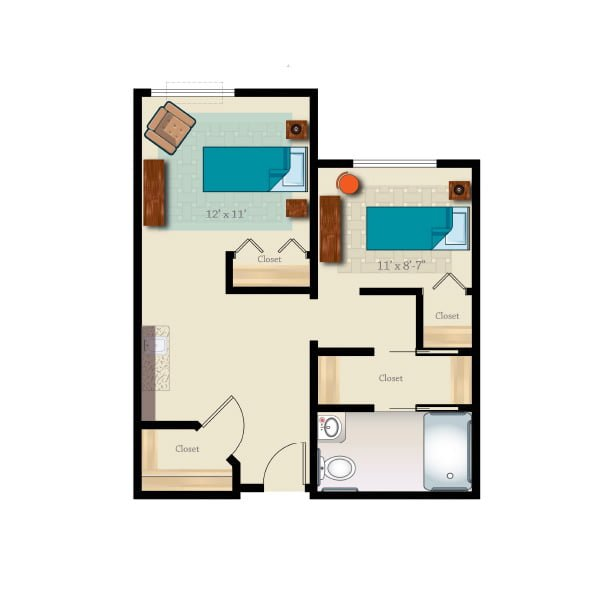 640 square feet - 2 bed 1 bath - Memory Care Shared Suite