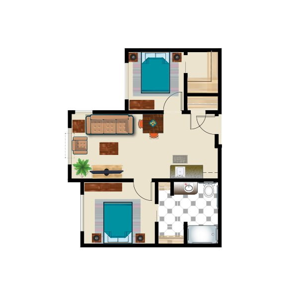 649 square feet - 2 bed 2 bath - Assisted Suite