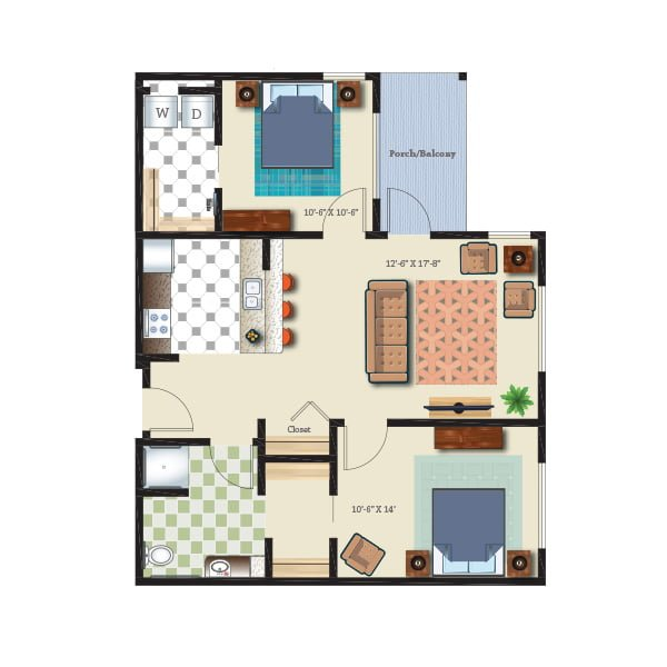 878 square feet - 2 bed 1 bath - Retirement Suite