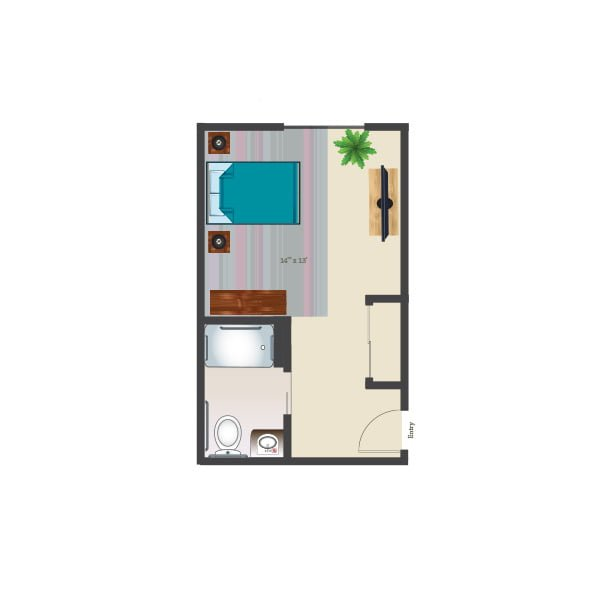 350 square feet - Memory Care Private Suite