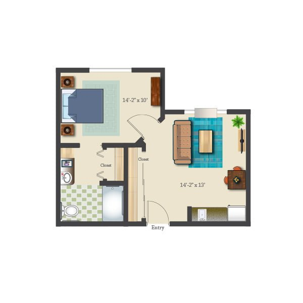 518 square feet - 1 bed 1 bath - Assisted Suite