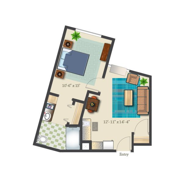 540 square feet - 1 bed 1 bath - Assisted Suite