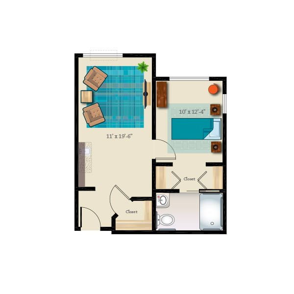 555 square feet - 1 bed 1 bath - Memory Care Private Suite