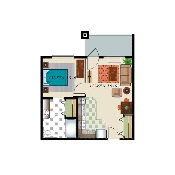 557 square feet - 1 bed 1 bath - Retirement Suite