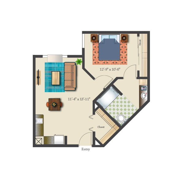 639 square feet - 1 bed 1 bath - Assisted Suite
