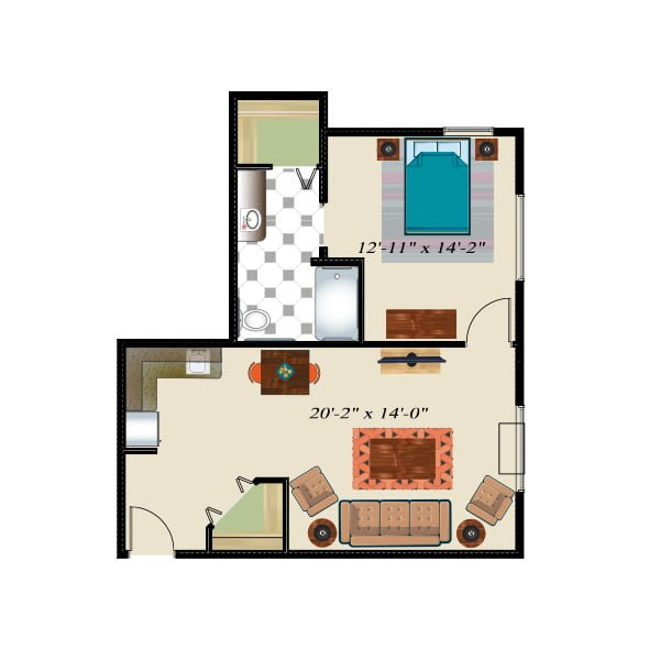 708 square feet - 1 bed 1 bath - Retirement Suite