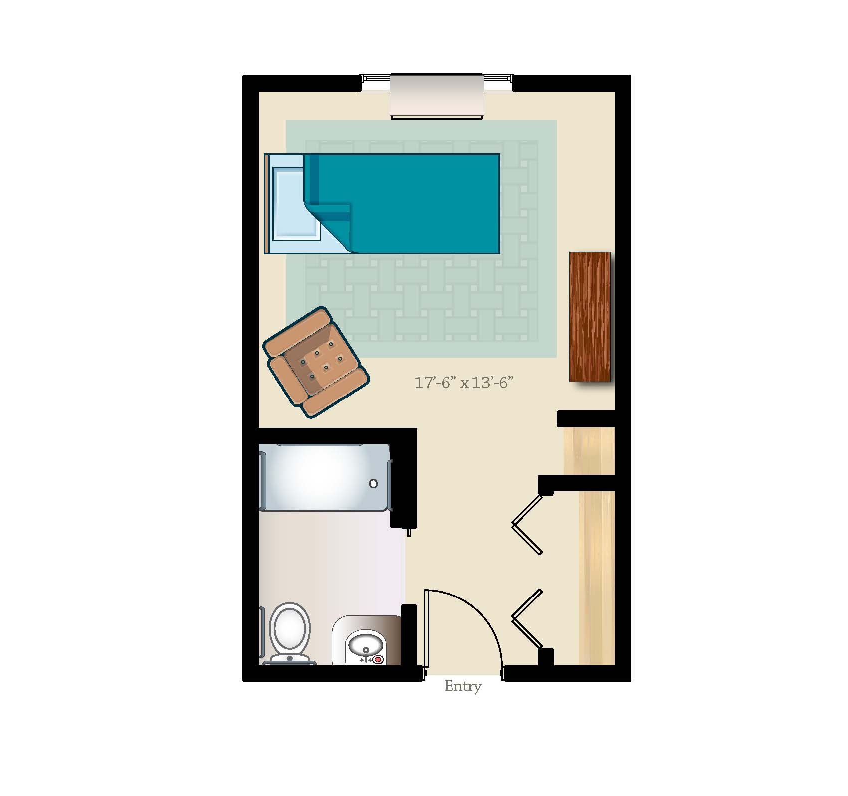 Private memory care suite layout 341 square feet