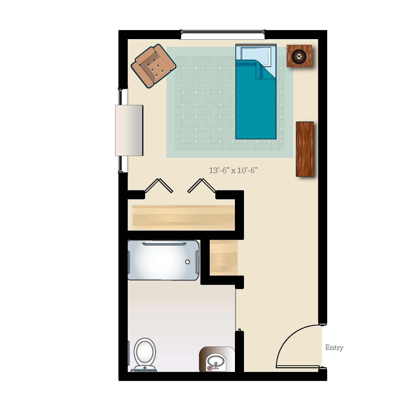 Private memory care suite layout 352 square feet