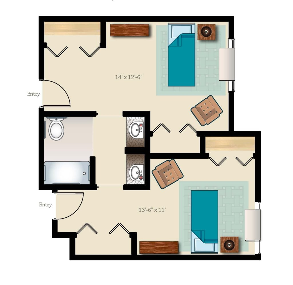 Shared memory care suite 629 square feet