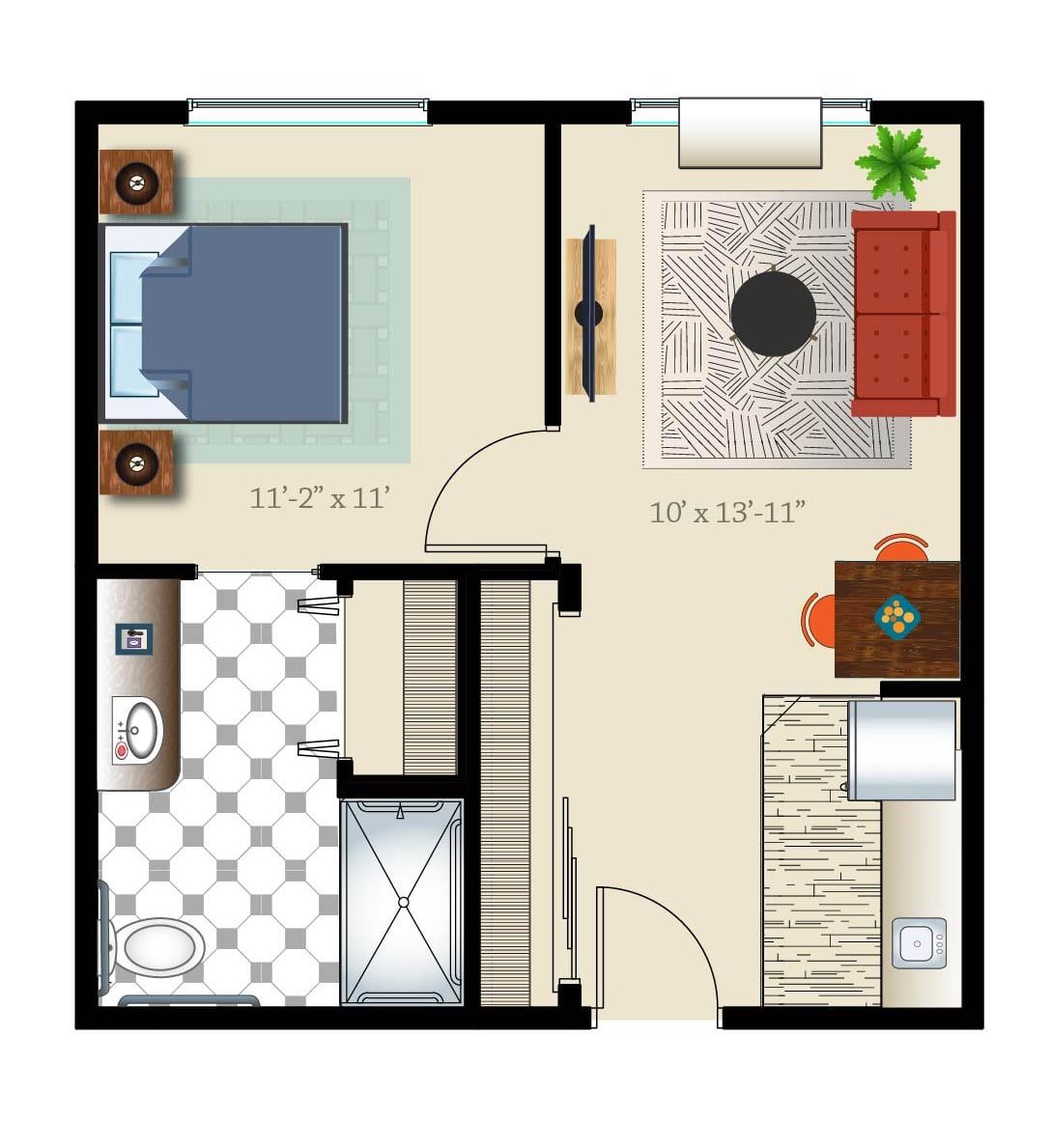 Denver senior apartment one bed one bath layout