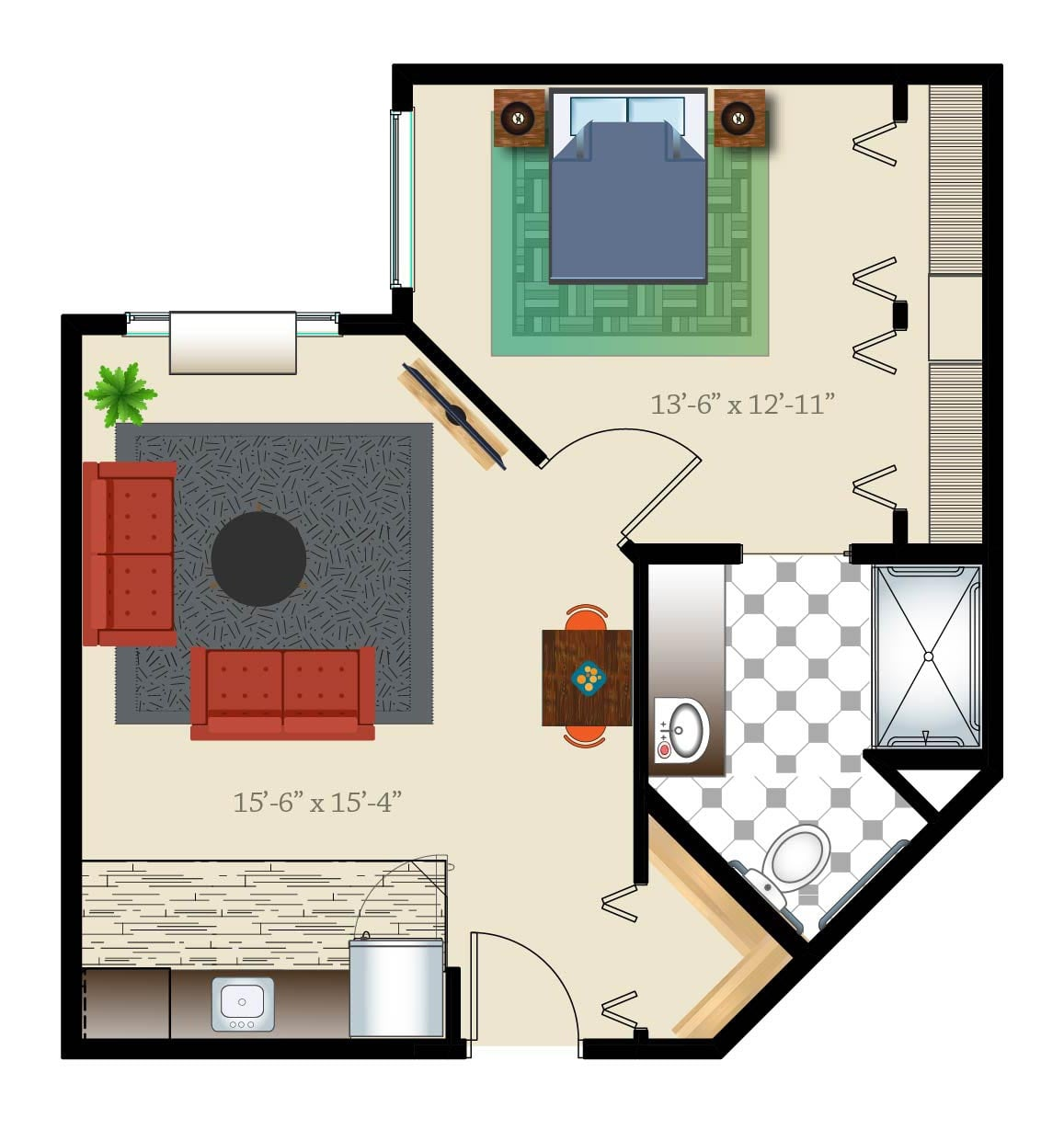 Denver assisted living apartment one bed one bath