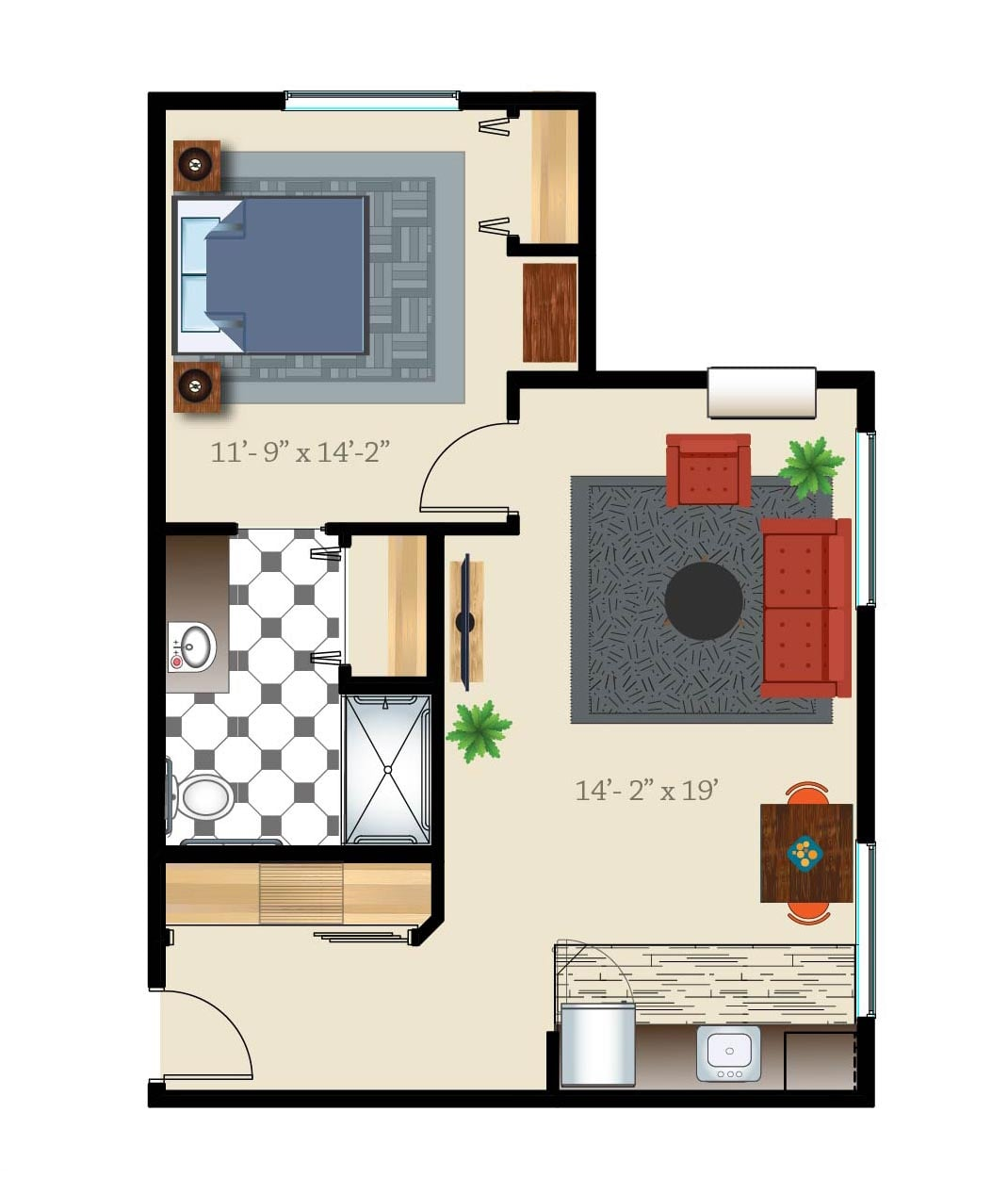 denver senior living apartment one bed one bath layout
