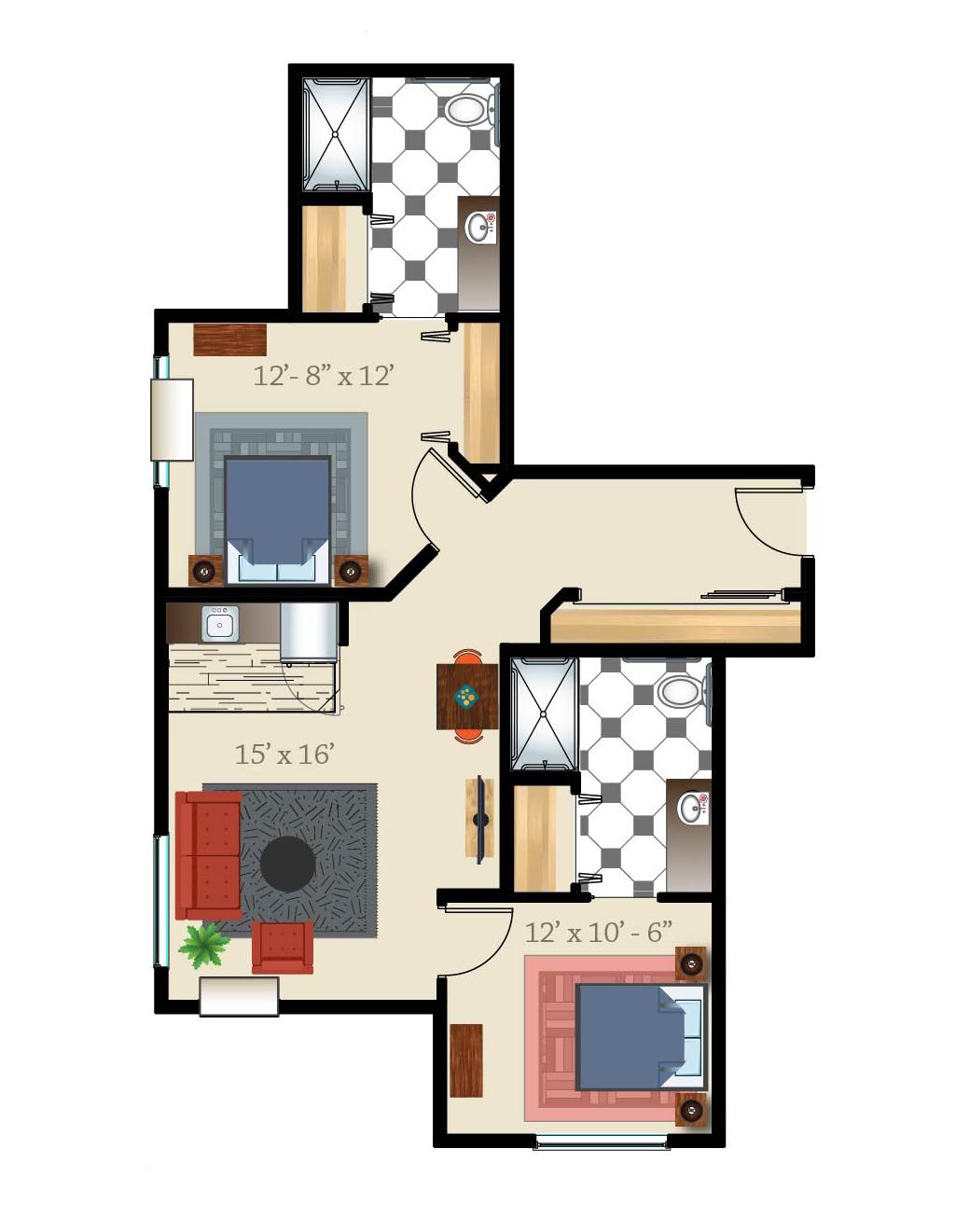 Denver assisted living apartment two bed two bath