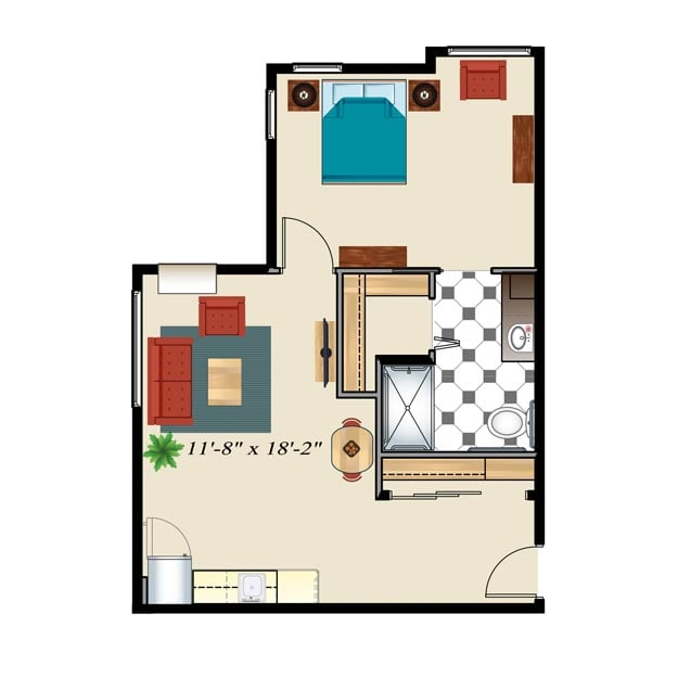 Assisted Living Floor Plan 1 Bedroom