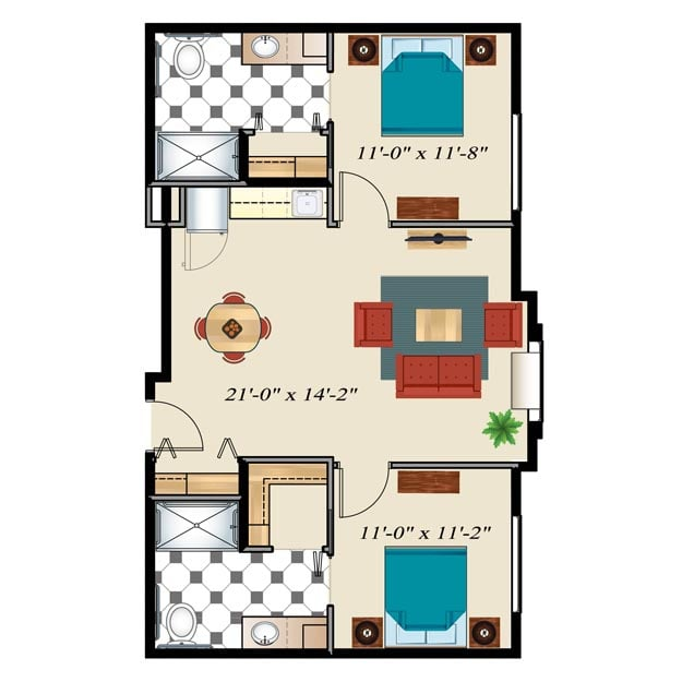 Assisted Living Floor Plan 2 Bedrooms