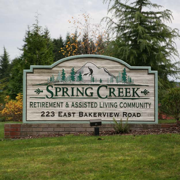 Retirement Home Sign for Spring Creek
