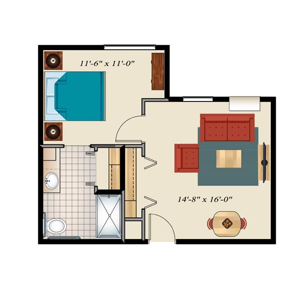 Memory Care Floor Plan 1 bedroom