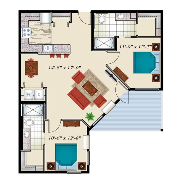 Senior Living Floor Plan 2 bedroom