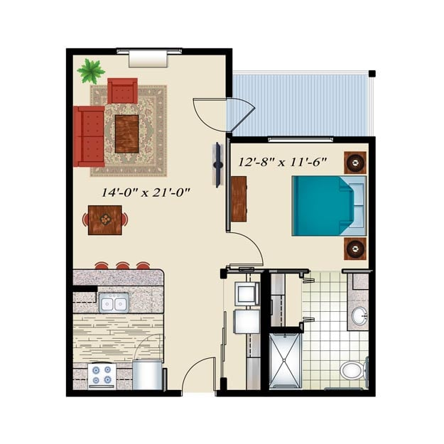 Senior Living Floor plan 1 bedroom