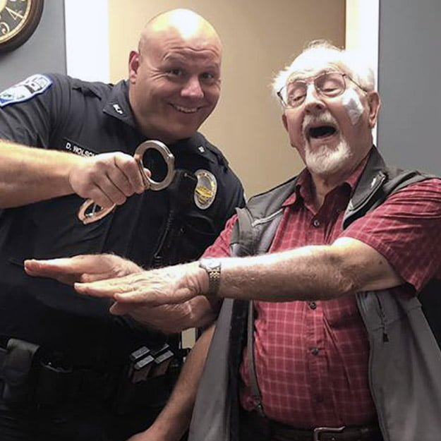 Senior having fun with Police