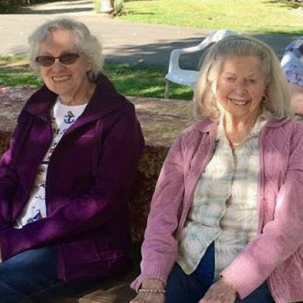 Senior Living lady residents in the garden at Bonaventure of Gresham