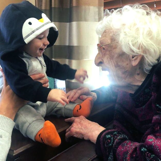 Retirement Community resident with Baby at Bonaventure of Colorado Springs