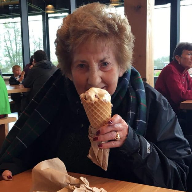 Retirement community Senior Lady with Ice Cream