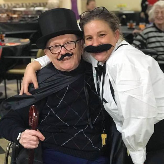 Senior living staff and resident halloween fun at Bonaventure of Salem