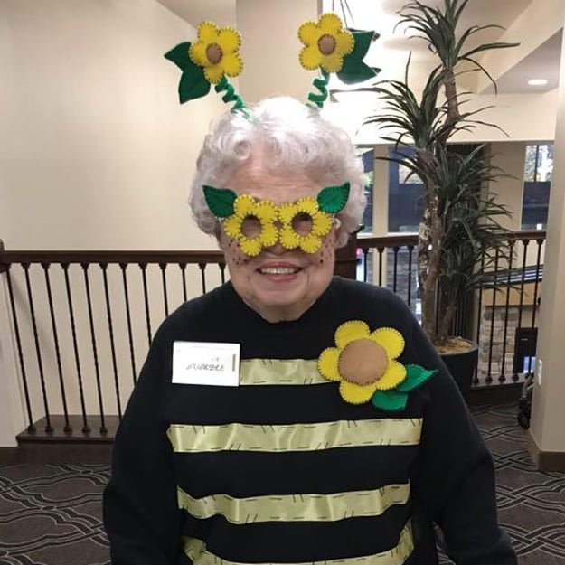 Assisted Living resident in Fancy Dress at Bonaventure of Albany