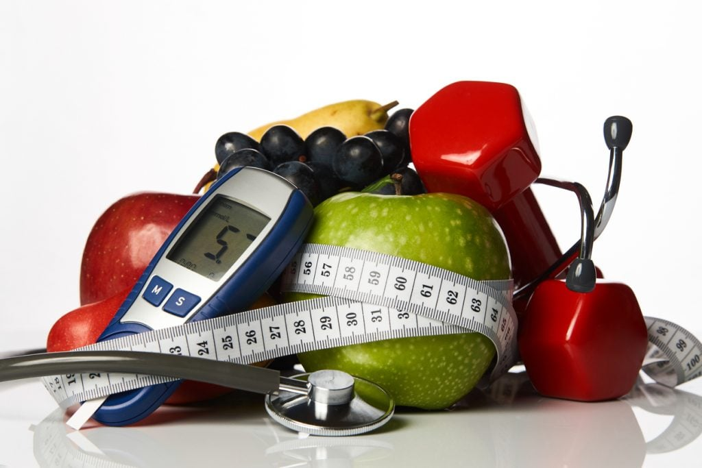 Healthy Seniors fruit and exercise equipment