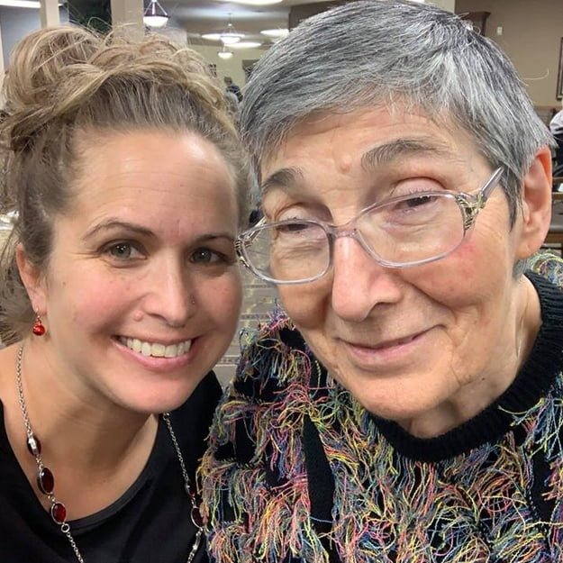 Retired woman with daughter happy because she lives in assisted living community in Bellingham Washington
