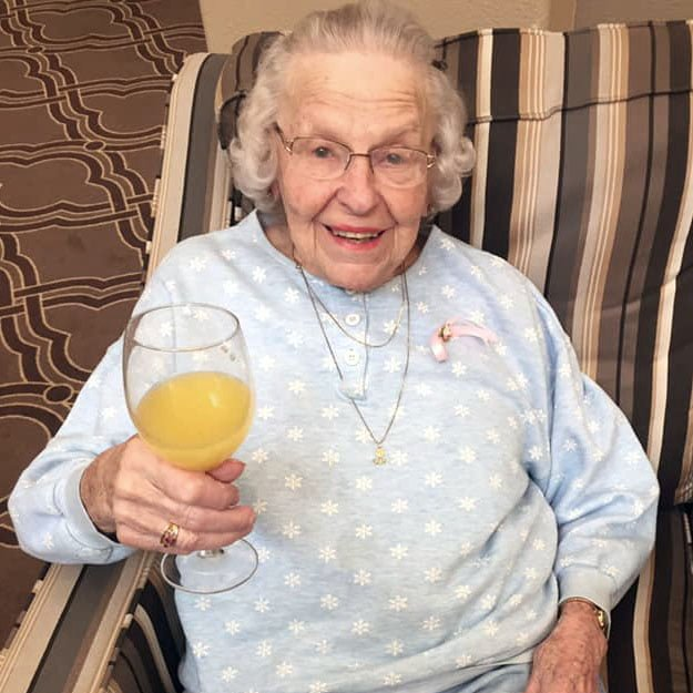 Independent living community senior likes drinks and retirement