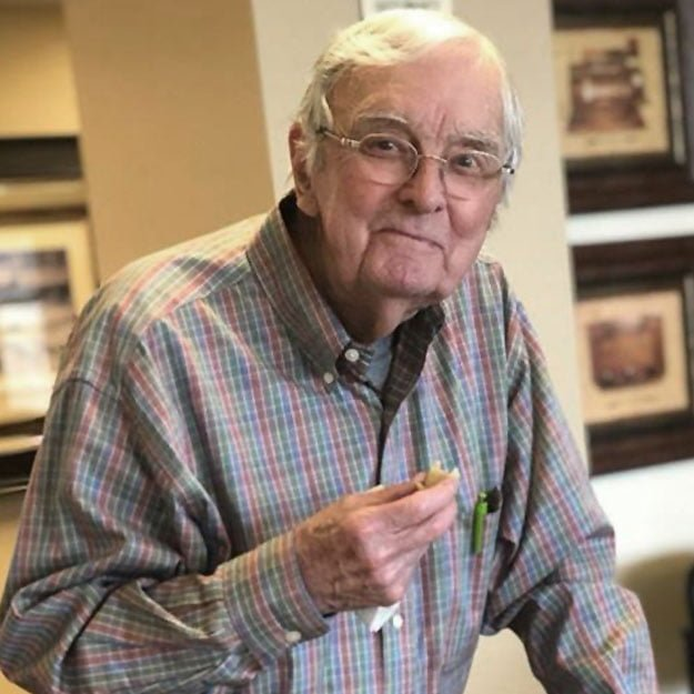 Retirement senior living community man is smiling about assisted living