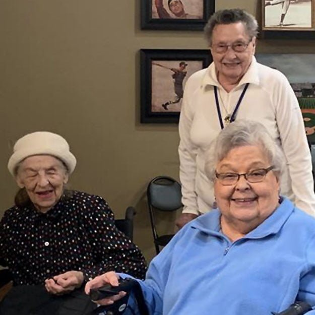 A group of senior women like their independent living retirement community