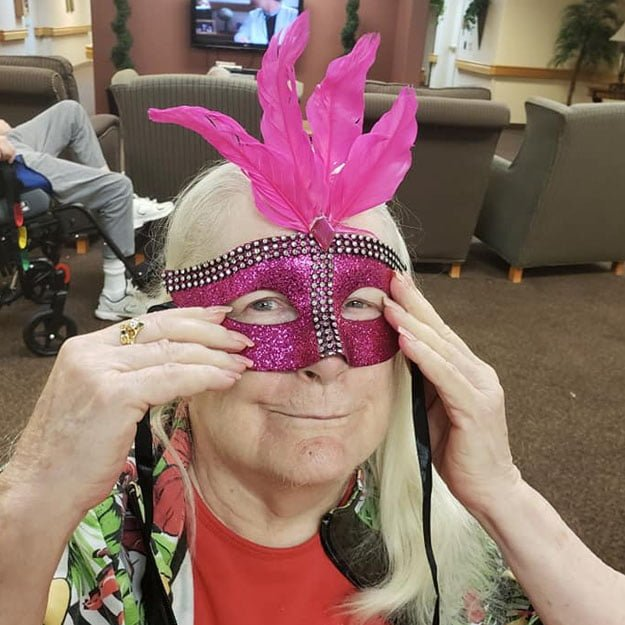 Independent living senior with mask