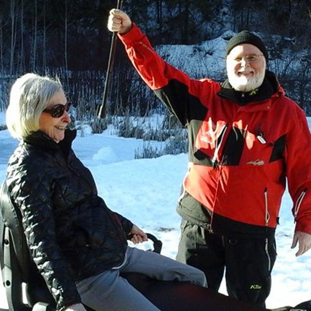 Assisted living community seniors love the snow and being independent living