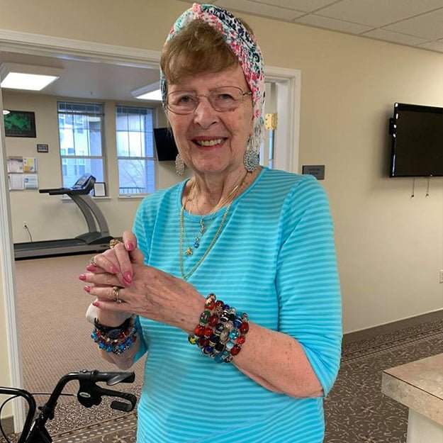 Indendent living senior loves fitness in her assisted living and memory care community