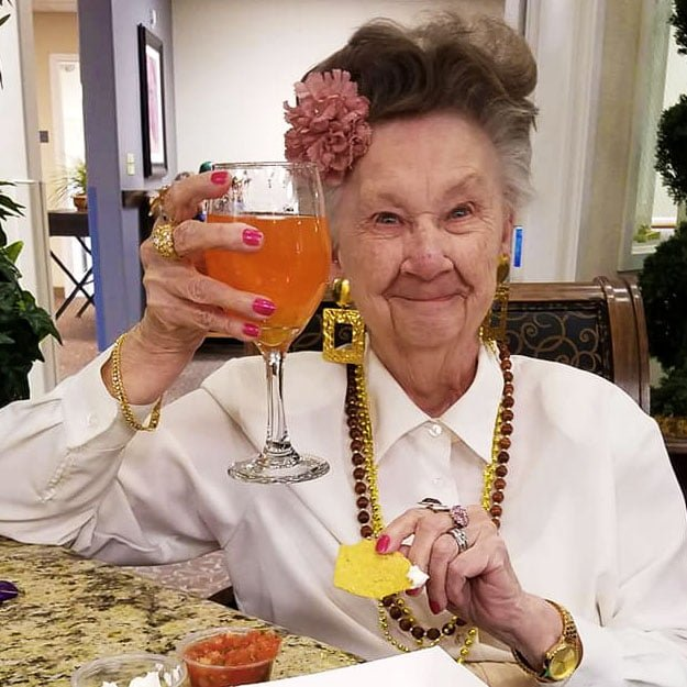 Assisted living senior community really likes her beverage
