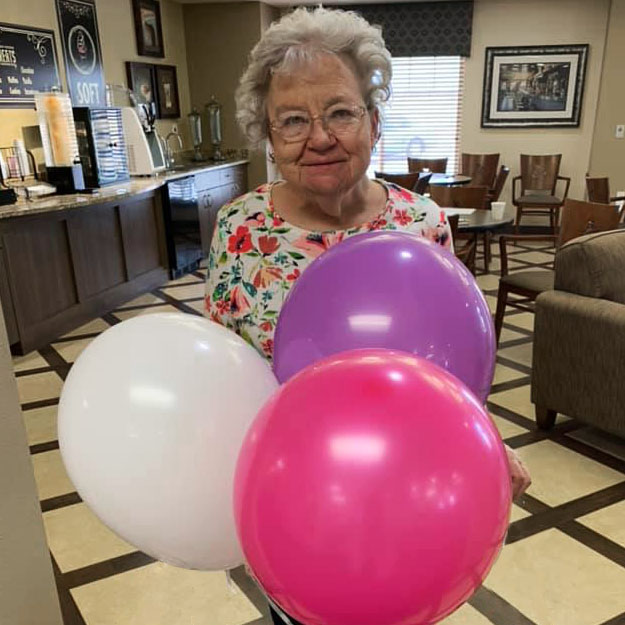 Memory care ballons and senior like retirement community