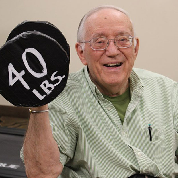 Fitness is important to this senior man in his retirement living community for memory care and assisted living
