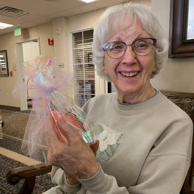 Assisted living and memory care senior is happy with her independent living community