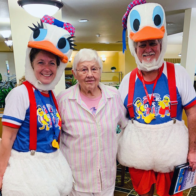 Silly seniors in assisted living community