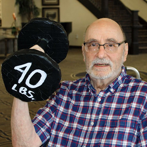 Senior fitness man in assisted living