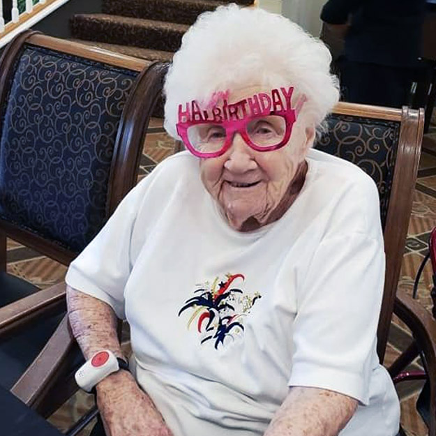 Assisted living senior has fun in her retirement community