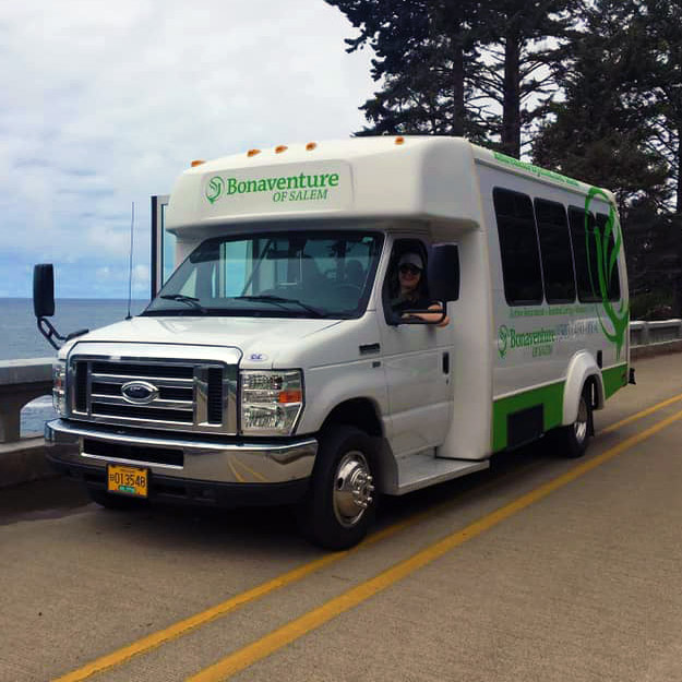 Senior living community bus for transportation of memory care and assisted living seniors